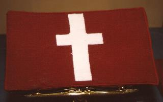 489th Church kneeler stitched by Virginia Kettlehoat, of Holbrook Congregational Church, NY, A US Friend of the 489th
