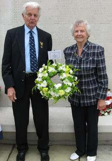 2010 Madingley - Pam and Sid Wilby (Friends of the 489th) Sid laid the Friends' tribute to the 489th at the Wall of the Missing