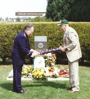 1998 - Veterans ID Brown and Jack McMullen fold the flag at the 489th Memorial Service