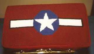 USAAF Insignia - Church kneeler stitched by Lillian Browne whose husband, 489th veteran ID Browne, was Ball Turret Gunner
