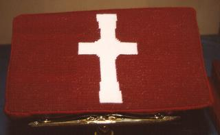 489th Church Kneeler stitched by Jane Ells, of Wantagh Memorial Congregational Church, NY, a US Friend of the 489th
