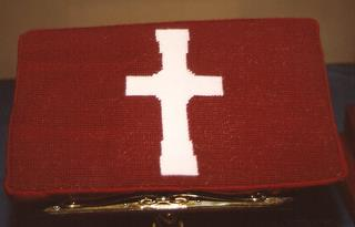 489th Church Kneeler stitched by Doris Kettlehoat of Holbrook NY Congregational Church, a US Friend of the 489th