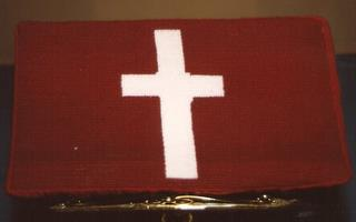 489th Church Kneeler stitched by Ruby Winkler of Wantagh Memorial Congregational Church, NY, a US Friend of the 489th