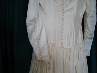 Detail from Helen McMullen's parachute wedding dress