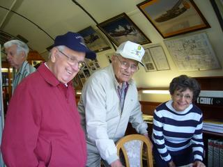 489th veteran John Lamar with sister Barbara and Corky McGee in the 489th Museum - May 2008