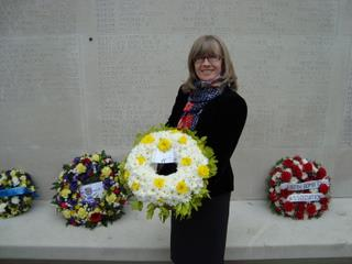 489th Friend Marjorie Shiers with tribute to the 489th