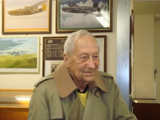 Mickey Baskin - Radio Operator, 489th Bomb Group.  19 November 2012 in Halesworth Airfield Memorial Museum